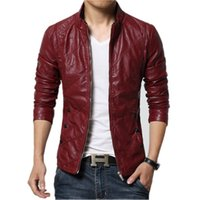 Wholesale Faux Fur Suede Jackets - New Fashion PU Leather Jacket Men Black Red Brown Solid Mens Faux Fur Coats Trend Slim Fit Youth Motorcycle Suede Jacket Male