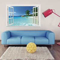 Wholesale wall mural large beach - WS-001 Huge Removable Beach Sea 3D Window Scenery Wall Sticker Home Decor Decals Mural Free Shipping