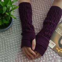 Wholesale Women Long Opera Gloves - Wholesale- 2017 Winter Women Fingerless Gloves Femme Acrylic knitted Iglove Warm Long Sexy Knitted Arm Warmers Glove New Fashion DP863335