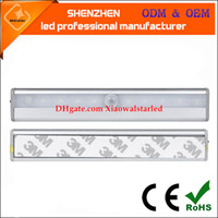Wholesale Lighting Ir Sensors - Rechargeable Magnetic IR Motion Sensor LED Wall Light Warm   Cool White 10 LED USB Night Light For Pathway Staircase Wall Fridge