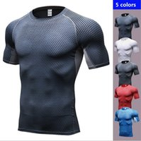 Wholesale Wholesale T Shirts Fitness - 5 Colors 3D Printed Qucik Dry Men Gym Sport T Shirt Fitness Trainning Top Clothing Wear , free shipping