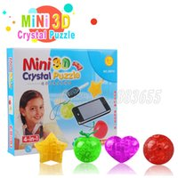 Wholesale Mini 3d Crystal Puzzles - Mini 3D crystal stereo jigsaw puzzle toy mobile phone chain apple   football   love   star