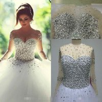 Wholesale Images Long Summer Dresses - 2016 Real Image Long Sleeve Wedding Dresses New Vintage Rhinestones Summer Bling Crystal Bridal Gowns Backless Ball Gown Wedding Dresses