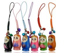 Wholesale Cell Phone Charms Doll - FreeS hip 50 Pieces Mixed Matryoshka Russia Russian Nesting wood wooden Doll cell phone strap pendant Keychain Bell Kids Christmas Gift