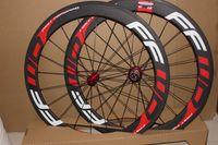 juego de ruedas f6r al por mayor-FFWD F6R ruedas de bicicleta de carretera de carbono blanco rojo conjunto 60mm remachador tipo tubular bicicleta de ruedas juego de ruedas 700C