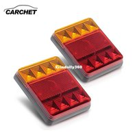 Wholesale Truck Lights 12v Led Headlight - CARCHET 2PCS Waterproof 8 LED Taillights Rear Tail Light 12V Car Truck Boat Red Yellow Warning Lamp Stop Turn Signal Lights NEW
