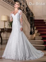 Wholesale China Pearl White - Vestido de Noiva 2017 Sexy Lace Long Sleeve Wedding Dresses China Bridal Gowns Vintage Bohemian Mermaid Wedding Dress Casamento