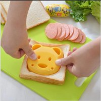 Wholesale Toasted Bread Cartoon - NEW Home DIY Cookie Cutter Plastic Sandwich Toast Bread Mold Maker Cartoon Bear Tool Christmas gifts
