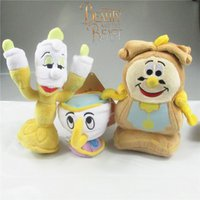 Wholesale Doll Candle - 3 Style 10cm -18cm Beauty and the Beast Clock   candle   cup Plush Doll Stuffed Toy For Baby Good Gifts
