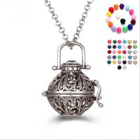 Wholesale Hollow Box Lockets - Magic box bell pearl accessories Disffuser Dolphins Necklace Locket Essential Oil Diffuser Necklaces Hollow out Locket Cage Pendant Necklace