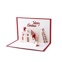tarjetas de felicitación hechas a mano 3d al por mayor-Al por mayor- Hecho a mano en 3D Pop Up Holiday Greeting Cards Navidad Cottage Castle Thanksgiving Gift