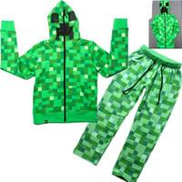 Wholesale Kids Leopard Costume - Children Boys Minecraft Halloween Creeper Costume Teen Spring Autumn Funny Green Zip-Up Hoodie Sweatshirt Suit For Kids 6-14T