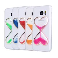 Wholesale Bling Hearts Wholesale - Fashion Bling Liquid Quicksand Double Heart-Shaped Transparent Hourglass Soft TPU Case For Samsung Galaxy S5 S6 S7 edge