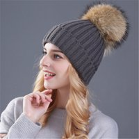 Wholesale Mink Fur Yarn - mink and fox fur ball cap pom poms winter hat for women girl 's hat knitted beanies cap brand new thick female cap