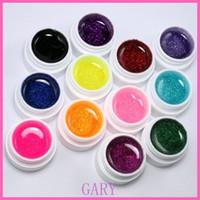 Wholesale uv false nail kit - Wholesale- 12 Color Glitter UV Gel Builder False Tips Acrylic Nail Art Polish Kit Set