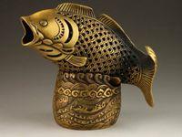 Wholesale Chinese Fish Statue - Elaborate Chinese Brass Fish Head Statue Box Incense Burner   Censer