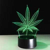 led kutulu ışıklar toptan satış-Yaprak 3D Illusion LED Lamba Gece Lambası 7 RGB Renkli USB Powered 5th Pil Bin Dokunmatik Düğme Dropshipping Hediye kutu