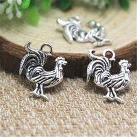 Wholesale Chicken Pendants - 25pcs--Rooster Charms, Antique Tibetan silver Lovely Chicken Charm Pendant 20x17mm