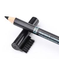 olho, sombra, lápis, escova venda por atacado-Cor preta impermeável compõem Eyeliner sobrancelha realçadores de lápis de madeira com escova Eye Shadow / Liner Cosméticos Combinação