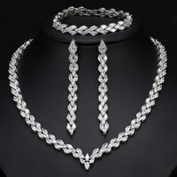 Wholesale Wholesale Rhodium Plated Jewelry - Top grade rhodium plated long line style brilliant 5A CZ diamond elegant bridal wedding jewelry set