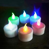 многоцветные рождественские огни для оптовых-Один многоцветный доступны поворотный электронный ночник украшение комнаты Рождество свадьба светодиодные свечи чай свет