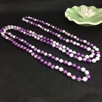 Wholesale Wholesale Long Beaded Necklaces - 2017 New Fashion Beautiful Double-color 1.5m Long Beaded Pearl Necklace For Baby Photo Props Sweater Chain For Women Two-color