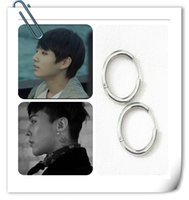 Wholesale Life Size Women - Hot Korean BigBang GD BTS silver earring nails stainless steel Anti-Allergy man woman circle 4 sizes party wedding daily life free shipping