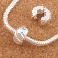 clip charms rolhas venda por atacado-10mm de Prata Banhado A Tom Rolha De Abóbora Big Hole Beads Clipe 30 Pçs / lote Fit Charme Europeu Pulseiras Metais Jóias DIY L1749