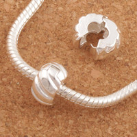 Wholesale 10mm Silver Plated Tone Pumpkin Stopper Big Hole Beads Clip Fit European Charm Bracelets Metals Jewelry DIY L1749