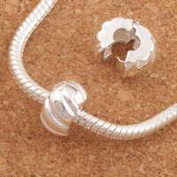 Wholesale European Diy - 10mm Silver Plated Tone Pumpkin Stopper Big Hole Beads Clip 30Pcs lot Fit European Charm Bracelets Metals Jewelry DIY L1749