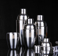 Wholesale Wholesale Martini Shakers - Stainless Steel Boston Shaker Cocktail Shaker Bottle Mixer Wine Martini Drinking Boston Style Shaker For Party Home Bar Tool 250-750ML