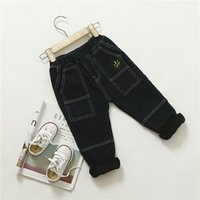 Wholesale Han Clothing Wholesale Jeans - 2017 kids clothes Winter children's wear Han Fan boys children's tree embroidery big pockets black washed plus cashmere jeans