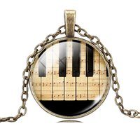 Wholesale piano pendant - Wholesale-Choker NecklaceSliver  Bronze Plated Piano and Music Note Pattern Necklace Pendant for Women