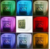 Wholesale Led Gadget Halloween - Promotion! Cute 7 Colour Backlight Modern Digital Alarm Clock Desk Gadget Digital Alarm Thermometer Night Glowing Cube LCD Clock