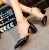 Wholesale t shaped heels shoes - Spring and Autumn new T-shaped with a word rivet word word buckle hollow tip patent leather high-heeled shallow single shoes female