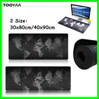 Wholesale 2 Size World Map Design Computer Mouse Pads Big Black Map Speed LOL Dota CS Games Desk Keyboard Mats Pads Office Desk Mat