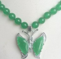 Wholesale Natural Jade Butterfly - free shipping >>>>>Beautiful 8mm natural Green Jade 18K GP Butterfly Pendant Necklace