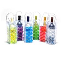 Wholesale ice beer cooler - Wine Cooler PVC Beer Cooler Bag Outdoors Ice Gel Bag Picnic CoolSacks Wine Chillers Beer Frozen Bag Bottle Cooler