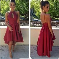 Wholesale Sexy Back Out Lace Gown - 2017 Short Cocktail Dresses Sexy Hollow Out Dark Red High Low Short Prom Dresses Sexy Backless Formal Party Gowns Cheap