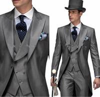 Wholesale Men S Long Suit Tailcoat - 2017 Mens White Suit For Weddings Suits For Men Tuxedo For Gentle Men Tuxedo Prom Suits Party Clothing Tailcoat Tuxedo Dress