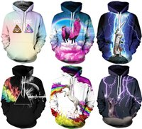 Wholesale White Hooded Winter Coat - 2017 Christmas Santa NWT Autumn Winter 3D Animal Print Fashion Sport Women Hoodies Coat With Hat Pocket Digital Print Hooded Pullovers S~2XL