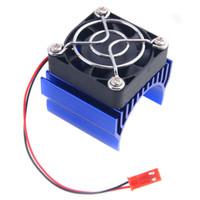 Wholesale Car Cooler Fan - RC HSP 7020 Navy Blue Alum Heat Sink 5V Fan 40*40*10mm Cooling For 540 550 Motor