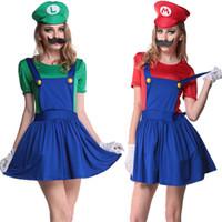 Wholesale Super Mario Characters Costumes - Women's Super Mario Skirt Halloween Cosplay Adult Costume Role-playing Cosplay Costume Character Hat+Mustache+T-shirt+Skirt+Gloves