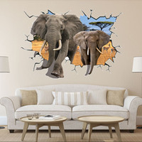 Wholesale african art wall decor - 8006 Hot Selling Delicate African Animal Wall Sticker Removable 3D Elephant Wall Sticker Home Kid Room Art Decal Mural Decor 70*100cm