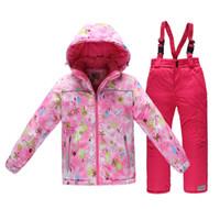Wholesale Girls Outdoor Long Jackets - Wholesale- Children Ski Suits New Arrive fashion Boys Windproof Warm Ski Jackets+Bib Pants Girls Winter Snow Suit Outdoor Wear 4-14 Years