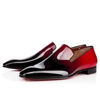 Wholesale Bridegroom Shoes - 2017 latest new fashion shiny red patent leather men dress shoes bridegroom wedding shoes slip on oxfords causal flats big size 46