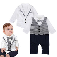 Wholesale Baby Romper Suit Tie - 2pcs Set Baby Boy Toddler Clothes Tie Gentleman Coat+Romper Kids Bodysuit Suit