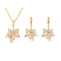 Wholesale Earring Setting Yellow Gold - Charming Women Party Jewelry Set 18K Yellow Gold Plated AAA Sparky CZ Leaf Earrings Necklace Set for Girls Women for Party DJE0050