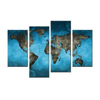 pintura a óleo do mapa mundial venda por atacado-4 Peças Pintura Da Lona Azul Fundo Mapa Pintura com Moldura De Madeira Mapa Do Mundo Imagem Óleo Impresso Na Lona Para A Decoração Home como Presentes