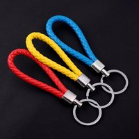 Wholesale Wholesale Keychains Cheap - Pu Leather Key Ring Promotional Cheap Rope Strap Keychains Top Quality Free Shipping Innovative Design Fashion Braided Type